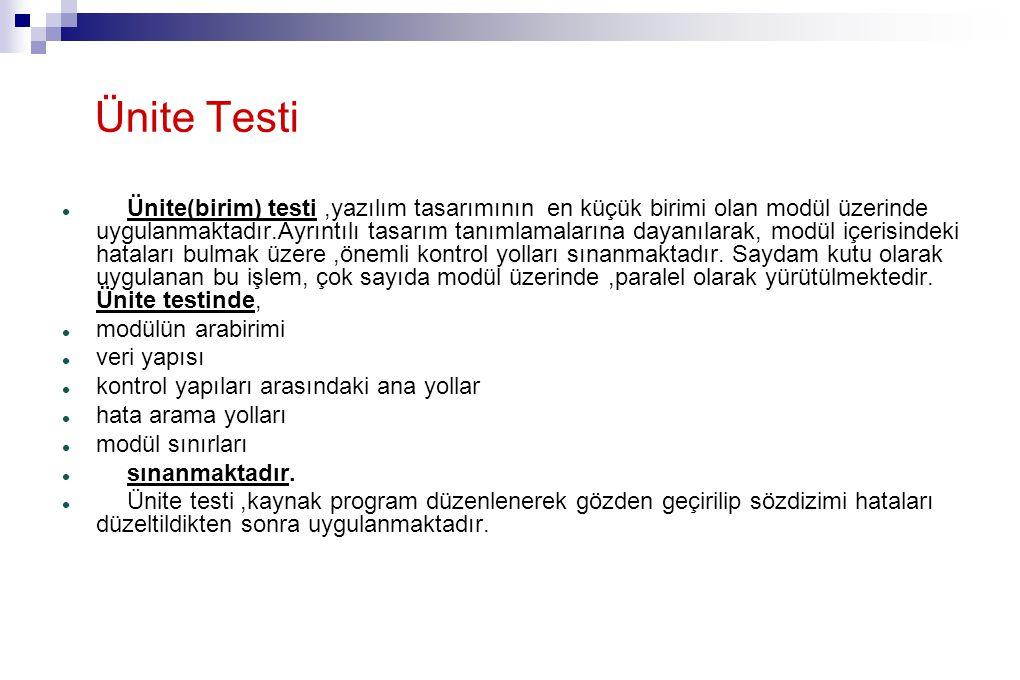 Ünite Testi Ünite(birim) testi,yazılım tasarımının en küçük birimi olan modül üzerinde uygulanmaktadır.Ayrıntılı tasarım tanımlamalarına dayanılarak, modül içerisindeki hataları bulmak üzere,önemli kontrol yolları sınanmaktadır.
