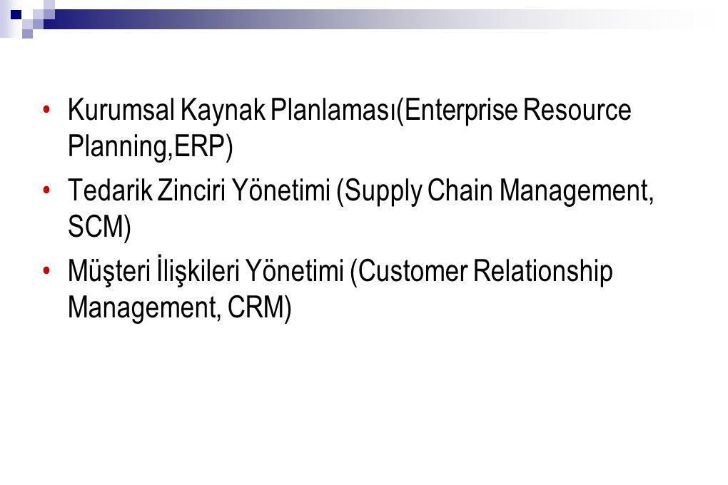 Kurumsal Kaynak Planlaması(Enterprise Resource Planning,ERP) Tedarik Zinciri Yönetimi (Supply Chain Management, SCM) Müşteri İlişkileri Yönetimi (Customer Relationship Management, CRM)