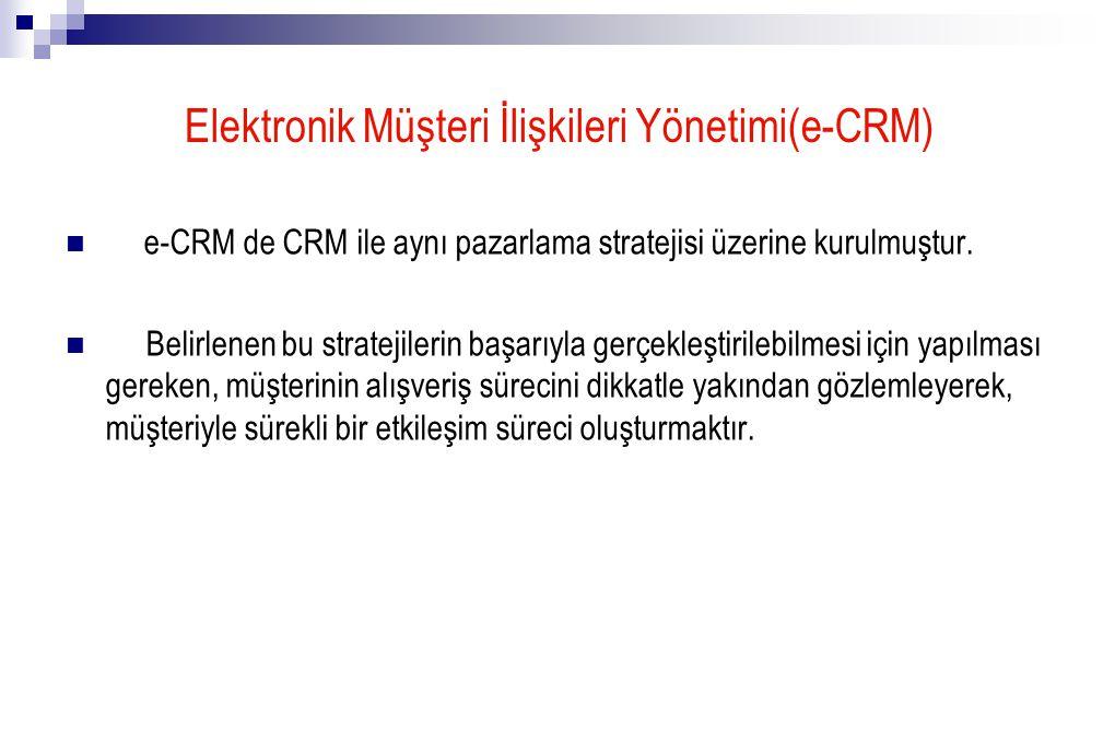 Elektronik Müşteri İlişkileri Yönetimi(e-CRM) e-CRM de CRM ile aynı pazarlama stratejisi üzerine kurulmuştur.