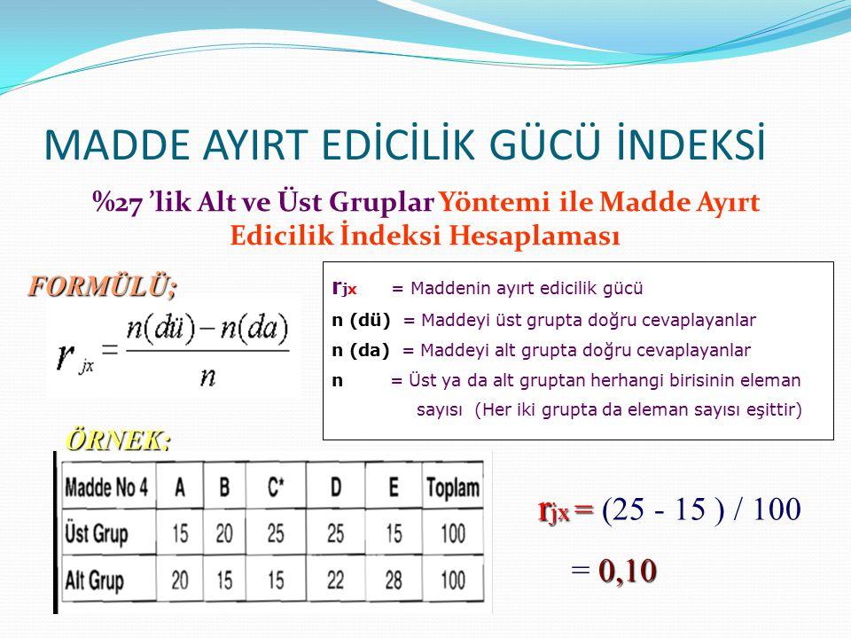MADDE AYIRT EDİCİLİK GÜCÜ İNDEKSİ %27 'lik Alt ve Üst Gruplar Yöntemi ile Madde Ayırt Edicilik İndeksi Hesaplaması r jx = Maddenin ayırt edicilik gücü n (dü) = Maddeyi üst grupta doğru cevaplayanlar n (da) = Maddeyi alt grupta doğru cevaplayanlar n = Üst ya da alt gruptan herhangi birisinin eleman sayısı (Her iki grupta da eleman sayısı eşittir) FORMÜLÜ; ÖRNEK; r jx = r jx = (25 - 15 ) / 100 0,10 = 0,10