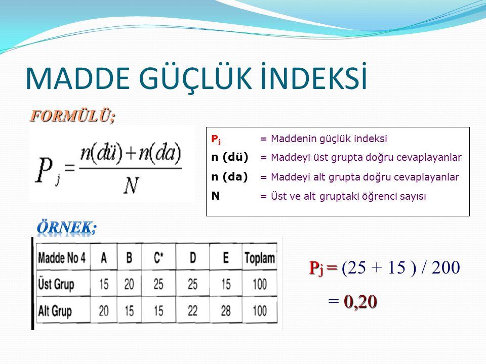 MADDE GÜÇLÜK İNDEKSİ P j = Maddenin güçlük indeksi n (dü) = Maddeyi üst grupta doğru cevaplayanlar n (da) = Maddeyi alt grupta doğru cevaplayanlar N = Üst ve alt gruptaki öğrenci sayısı P j = P j = (25 + 15 ) / 200 0,20 = 0,20 FORMÜLÜ;
