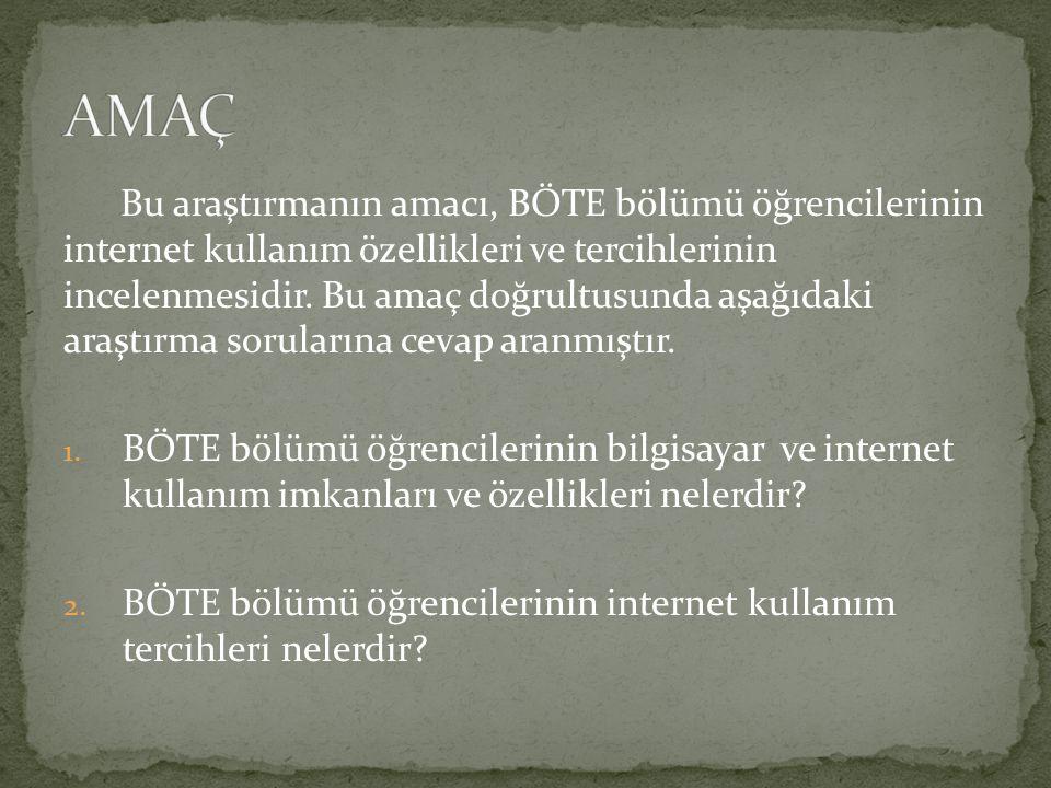 Bu araştırmanın amacı, BÖTE bölümü öğrencilerinin internet kullanım özellikleri ve tercihlerinin incelenmesidir.