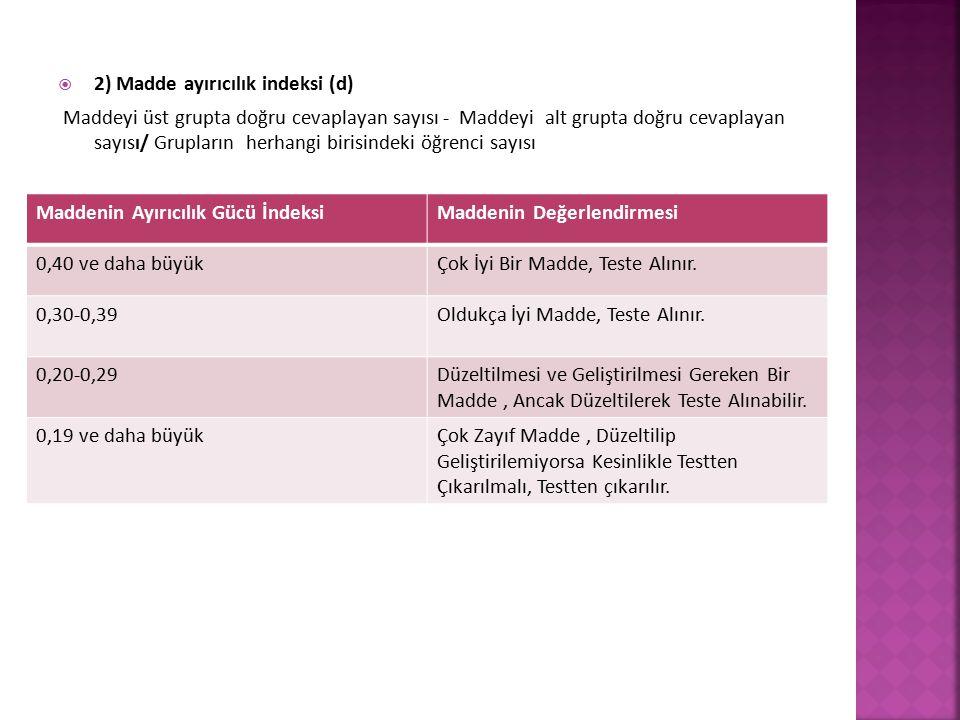  2) Madde ayırıcılık indeksi (d) Maddeyi üst grupta doğru cevaplayan sayısı - Maddeyi alt grupta doğru cevaplayan sayısı/ Grupların herhangi birisind