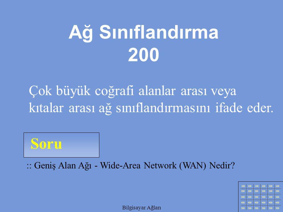 Bilgisayar Ağları Soru 100 200 300 400 500 Bilgisayar Ağları :: Yerel Alan Ağı (Local Area Network) Nedir.
