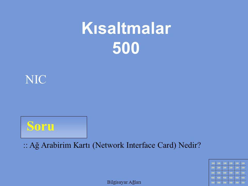 Bilgisayar Ağları Soru 100 200 300 400 500 Bilgisayar Ağları :: Ağ Arabirim Kartı (Network Interface Card) Nedir.