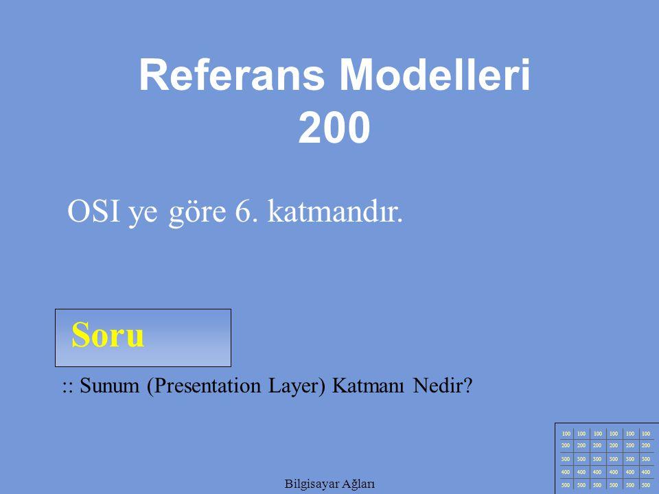 Bilgisayar Ağları Soru 100 200 300 400 500 Bilgisayar Ağları :: Sunum (Presentation Layer) Katmanı Nedir.