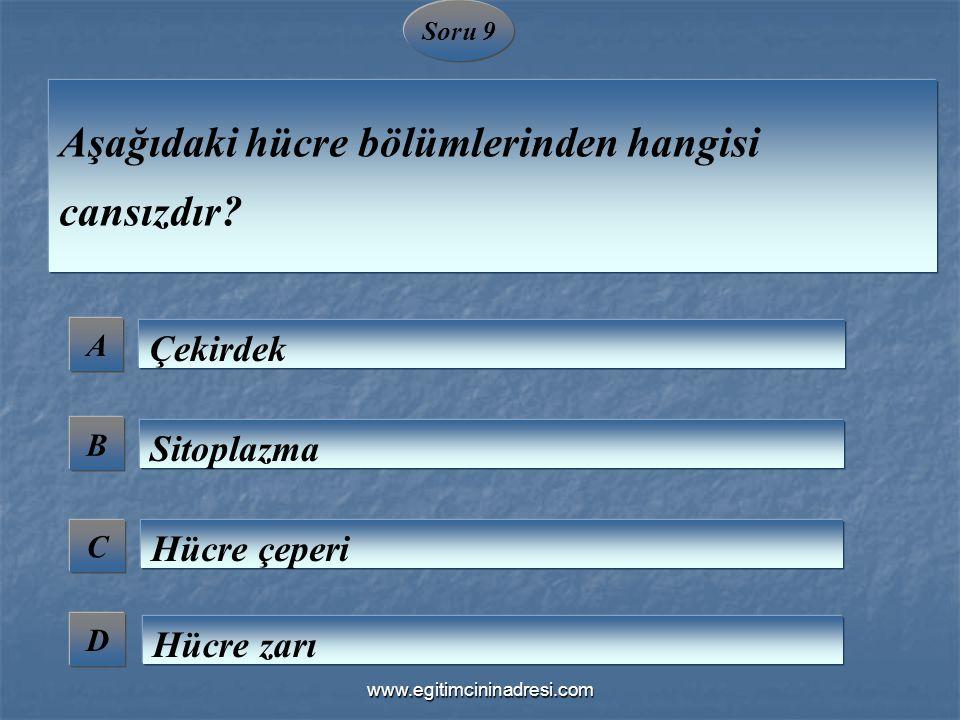 Soru 9 A B C D Aşağıdaki hücre bölümlerinden hangisi cansızdır? Çekirdek Sitoplazma Hücre çeperi Hücre zarı www.egitimcininadresi.com