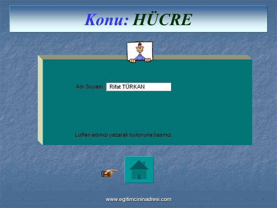 Adı Soyadı : Lütfen adınızı yazarak butonuna basınız Konu: HÜCRE www.egitimcininadresi.com