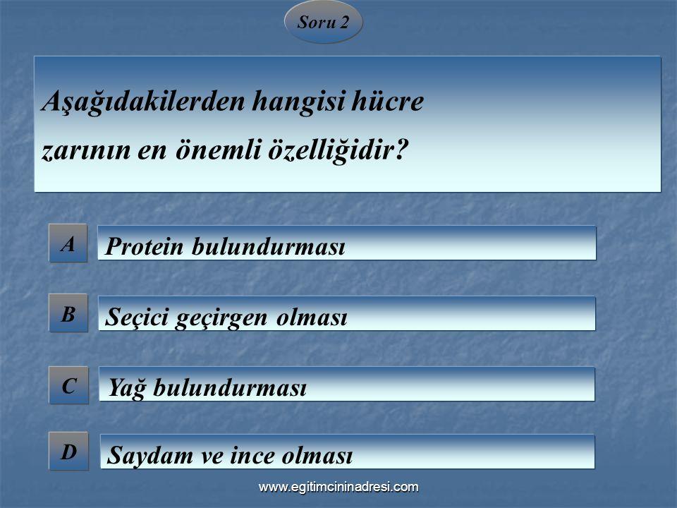 Soru 2 A B C D Aşağıdakilerden hangisi hücre zarının en önemli özelliğidir? Protein bulundurması Seçici geçirgen olması Yağ bulundurması Saydam ve inc