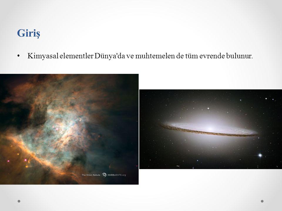 Kimyasal elementler Dünya'da ve muhtemelen de tüm evrende bulunur. Giriş