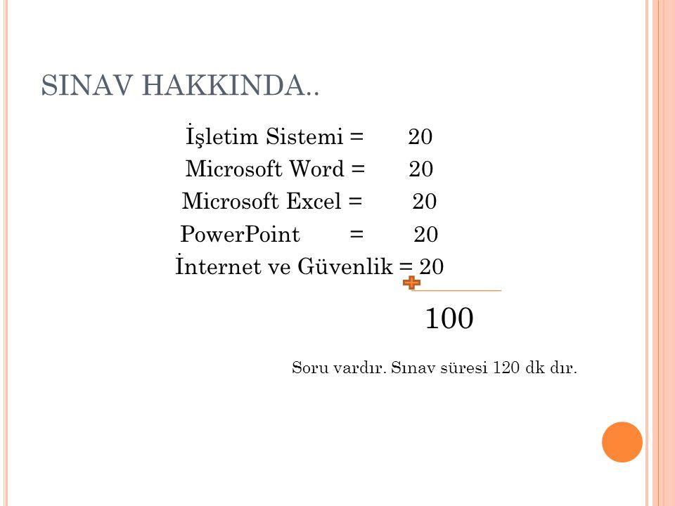 SINAV HAKKINDA.. İşletim Sistemi = 20 Microsoft Word = 20 Microsoft Excel = 20 PowerPoint = 20 İnternet ve Güvenlik = 20 100 Soru vardır. Sınav süresi