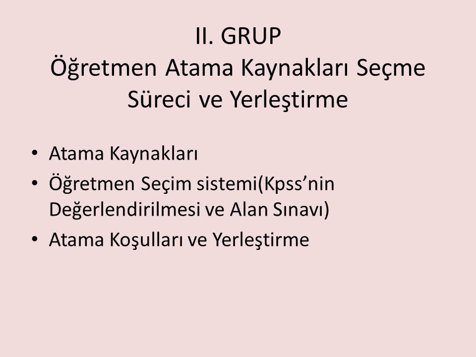 II. GRUP Öğretmen Atama Kaynakları Seçme Süreci ve Yerleştirme Atama Kaynakları Öğretmen Seçim sistemi(Kpss'nin Değerlendirilmesi ve Alan Sınavı) Atam