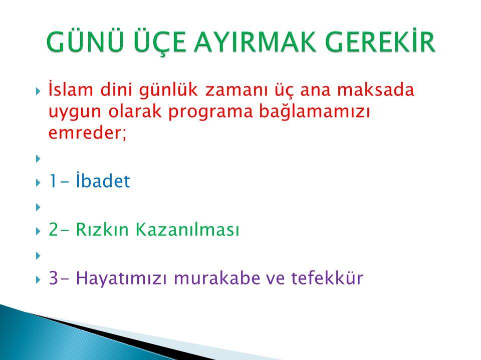  İslam dini günlük zamanı üç ana maksada uygun olarak programa bağlamamızı emreder;   1- İbadet   2- Rızkın Kazanılması   3- Hayatımızı murakabe ve tefekkür