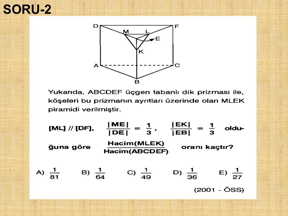 Dik üçgeni dik kenar etrafında döndürme Dik yamuğu yükseklik etrafında döndürmeYarım daireyi çapı etrafında döndürme KONİ KÜRE KESİK KONİ Dik üçgeni hipotenüs etrafında döndürme TABAN YÜZEYİ AYNI İKİ KONİ