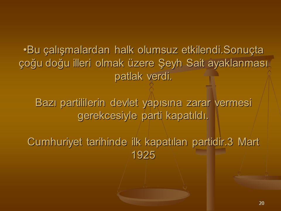 19 TERAKKİPERVER CUMHURİYET FIRKASI Cumhuriyet Halk fırkasına karşı kurulan ilk muhalefet partisidir. Cumhuriyet Halk fırkasına karşı kurulan ilk muha