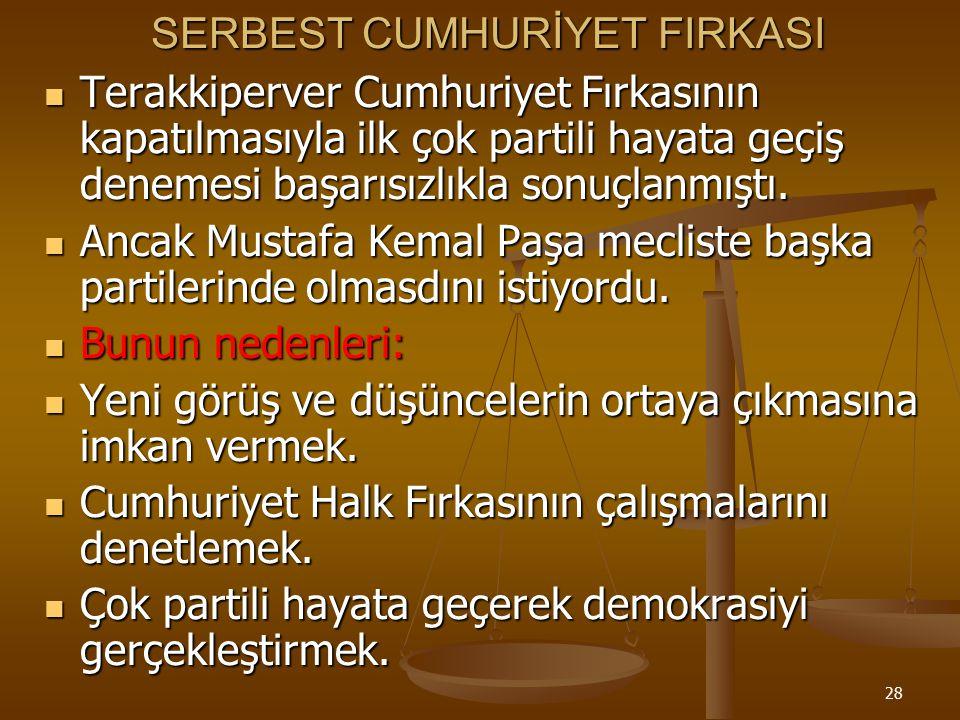 27 Mustafa Kemal'in İzmir'e bir gün geç gelmesi nedeniyle suikast girişimi sonuçsuz kaldı. *İzmir suikastı'na karışanlar şuçlu bulunanlar İstiklal Mah