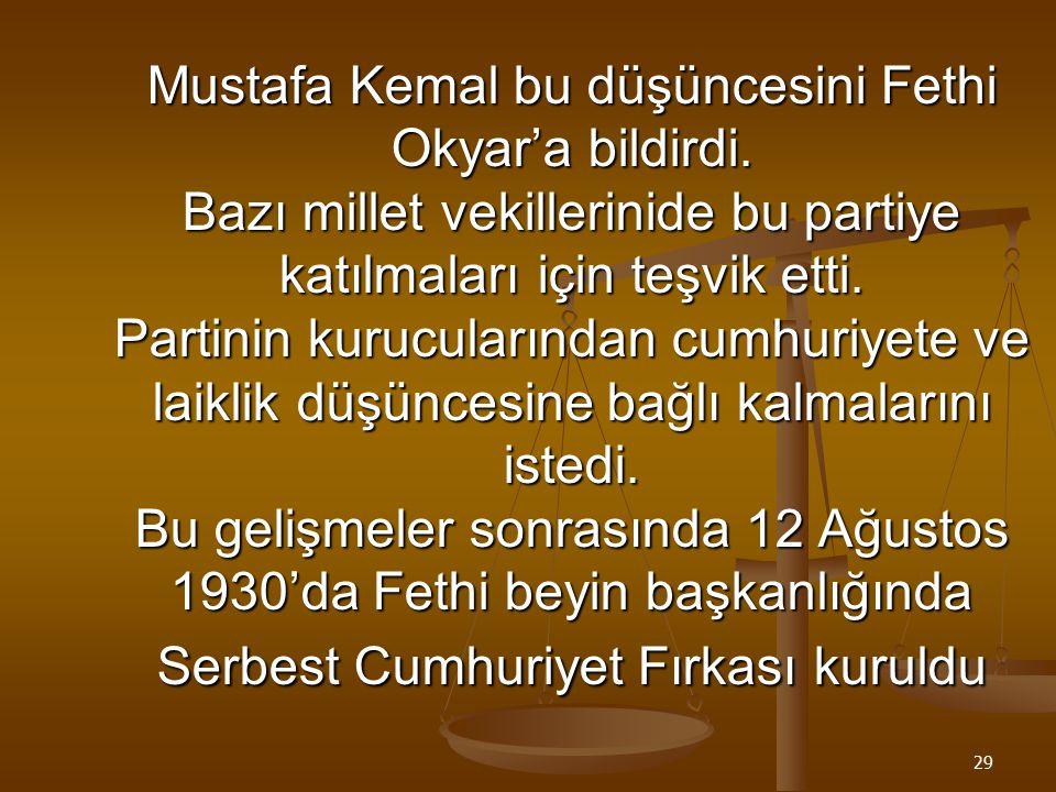 28 SERBEST CUMHURİYET FIRKASI Terakkiperver Cumhuriyet Fırkasının kapatılmasıyla ilk çok partili hayata geçiş denemesi başarısızlıkla sonuçlanmıştı. T
