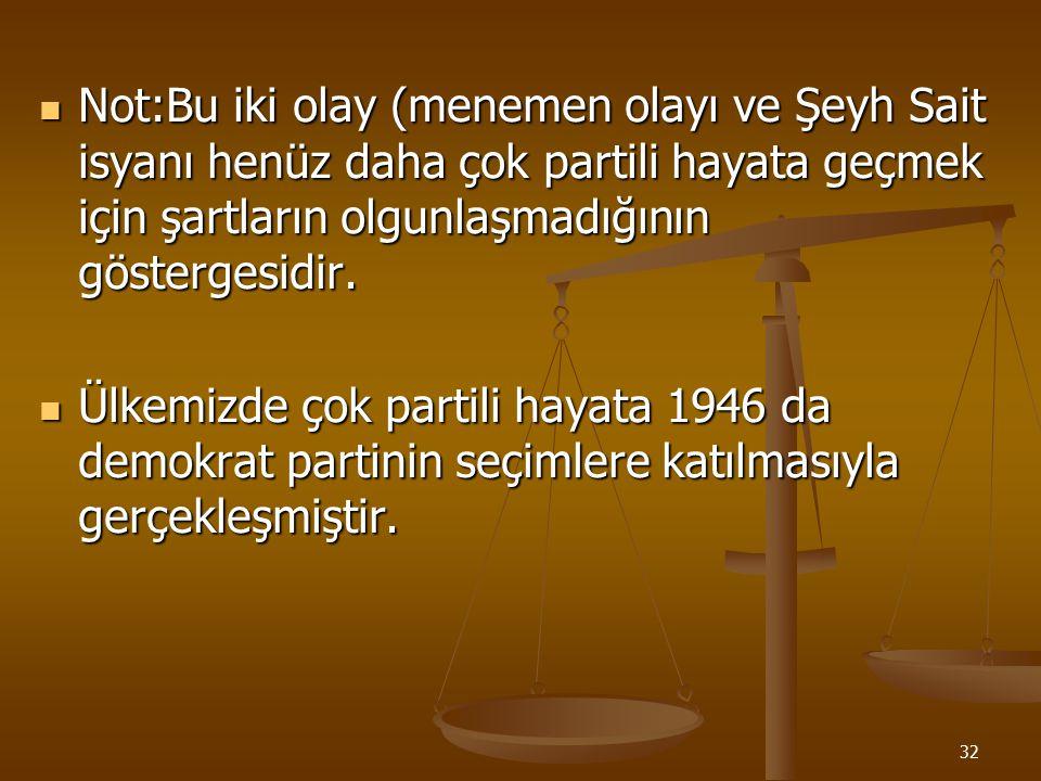 31 MENEMEN OLAYI Cumhuriyet yönetimine karşı olanlar Serbest Cumhuriyet Fırkası'nın kapatılmasından sonra menemen de olay çıkarttılar. Cumhuriyet yöne
