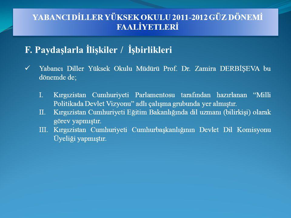 YABANCI DİLLER YÜKSEK OKULU 2011-2012 GÜZ DÖNEMİ FAALİYETLERİ F.