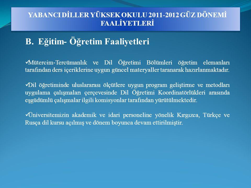 YABANCI DİLLER YÜKSEK OKULU 2011-2012 GÜZ DÖNEMİ FAALİYETLERİ B.