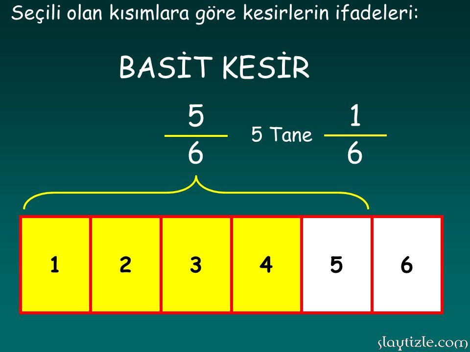 123456 Seçili olan kısımlara göre kesirlerin ifadeleri: 4 6 1 6 4 Tane BASİT KESİR