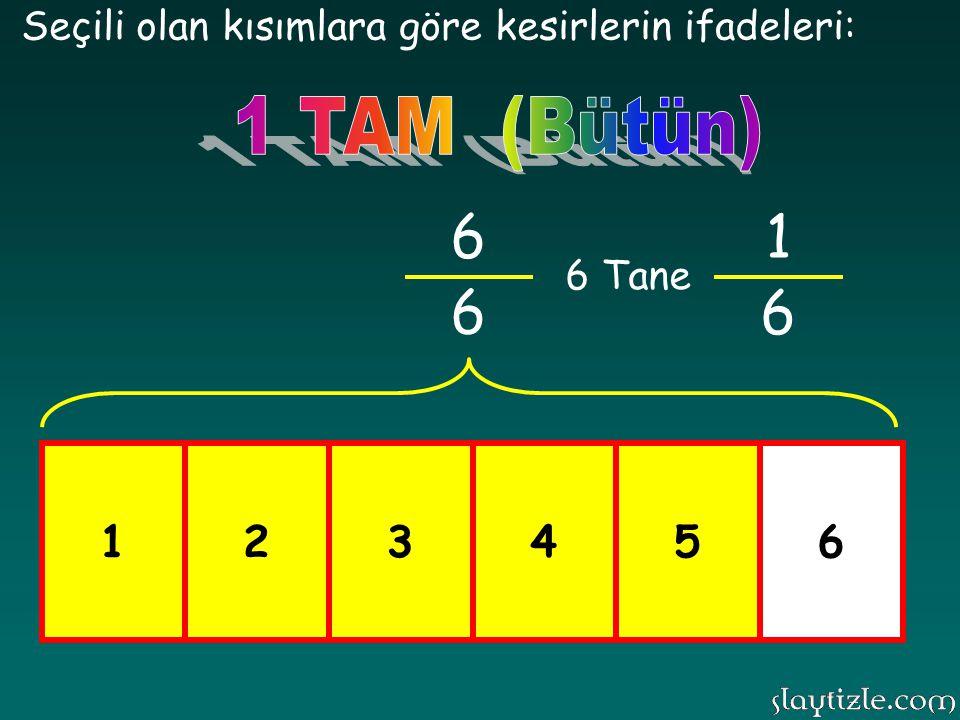 123456 Seçili olan kısımlara göre kesirlerin ifadeleri: 5 6 1 6 5 Tane BASİT KESİR