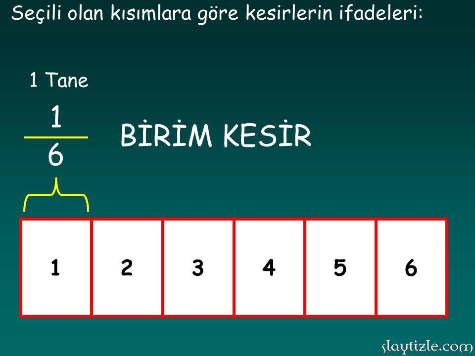 123456 Seçili olan kısımlara göre kesirlerin ifadeleri: 1 6 2 6 3 6 4 6 5 6 6 6