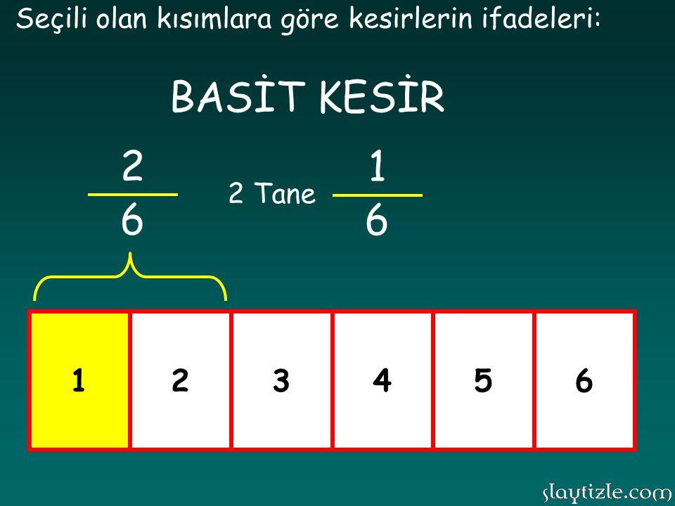 123456 Seçili olan kısımlara göre kesirlerin ifadeleri: 2 6 2 Tane BASİT KESİR 1 6