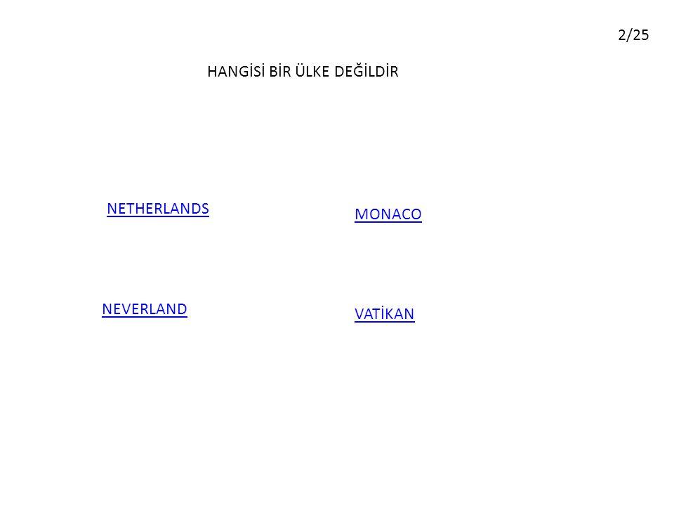HANGİSİ BİR ÜLKE DEĞİLDİR VATİKAN MONACO NEVERLAND NETHERLANDS 2/25