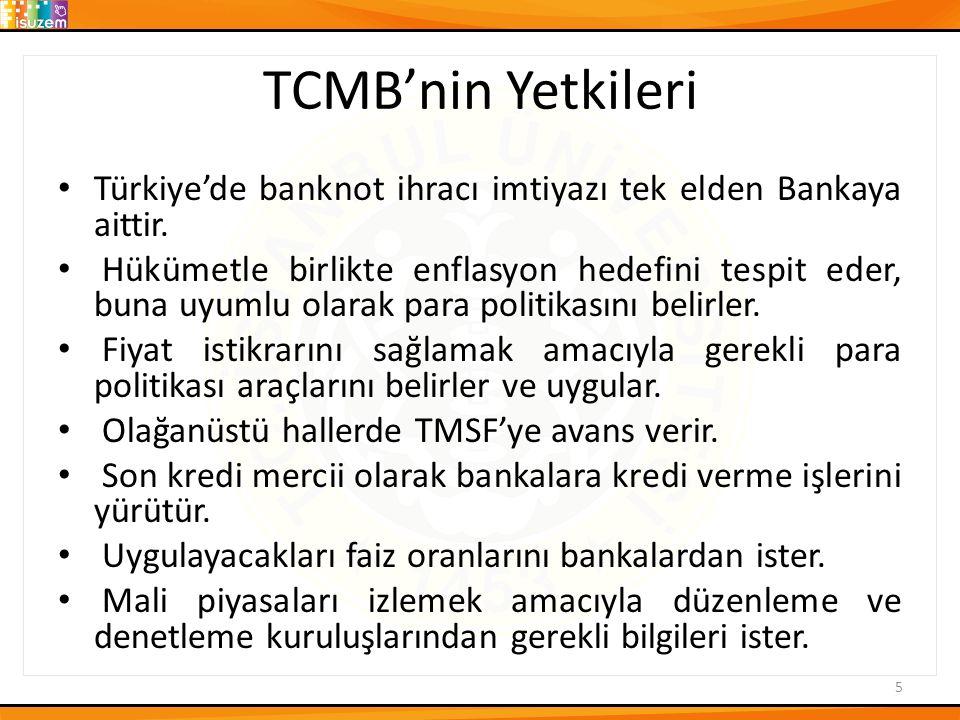 TCMB'nin Yetkileri Türkiye'de banknot ihracı imtiyazı tek elden Bankaya aittir. Hükümetle birlikte enflasyon hedefini tespit eder, buna uyumlu olarak