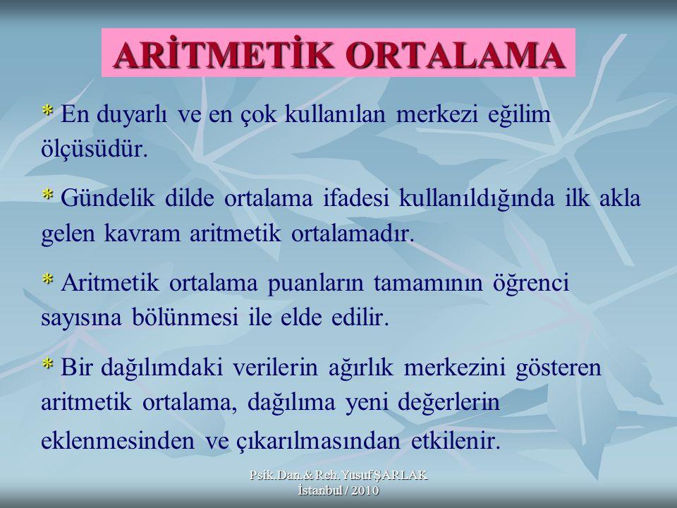 Psik.Dan.& Reh.Yusuf ŞARLAK İstanbul / 2010 ARİTMETİK ORTALAMA * * En duyarlı ve en çok kullanılan merkezi eğilim ölçüsüdür. * * Gündelik dilde ortala