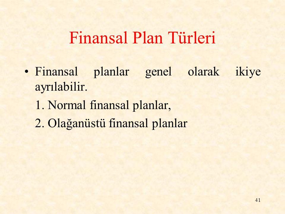 41 Finansal Plan Türleri Finansal planlar genel olarak ikiye ayrılabilir.