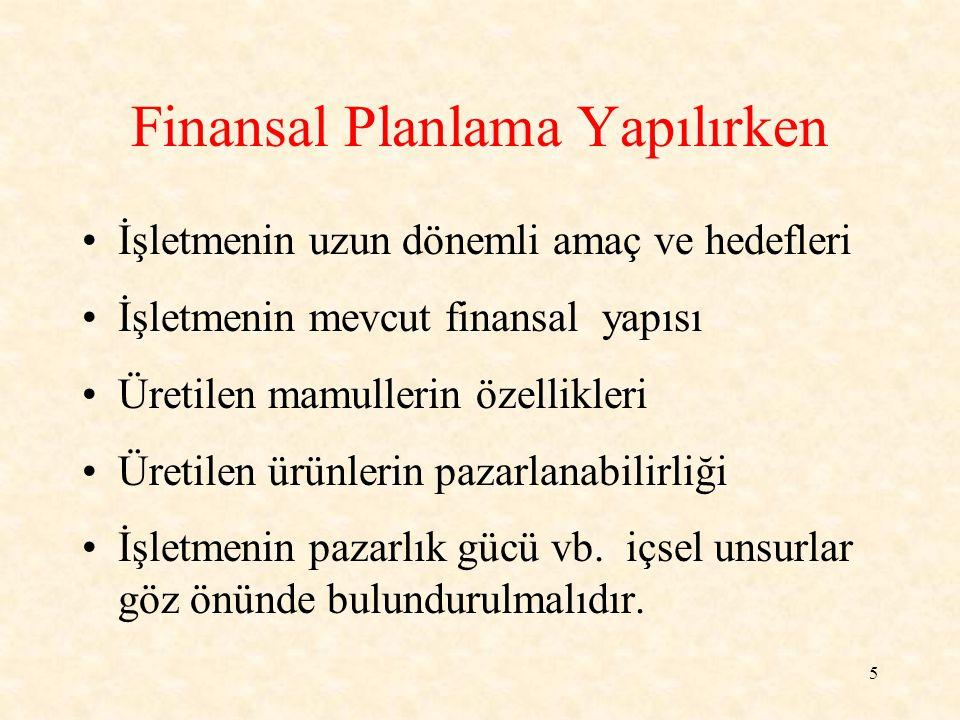 6 Finansal planlama yapılırken temel işletme verileri yanında, aşağıdaki unsurlar da gözönünde bulundurulur.