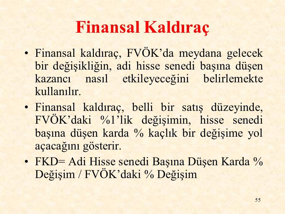 55 Finansal Kaldıraç Finansal kaldıraç, FVÖK'da meydana gelecek bir değişikliğin, adi hisse senedi başına düşen kazancı nasıl etkileyeceğini belirlemekte kullanılır.