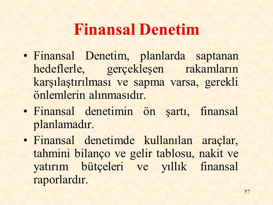 57 Finansal Denetim Finansal Denetim, planlarda saptanan hedeflerle, gerçekleşen rakamların karşılaştırılması ve sapma varsa, gerekli önlemlerin alınmasıdır.