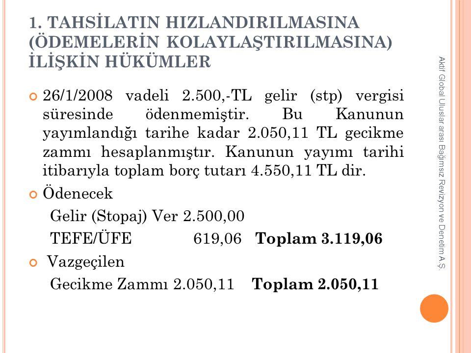 1. TAHSİLATIN HIZLANDIRILMASINA (ÖDEMELERİN KOLAYLAŞTIRILMASINA) İLİŞKİN HÜKÜMLER 26/1/2008 vadeli 2.500,-TL gelir (stp) vergisi süresinde ödenmemişti