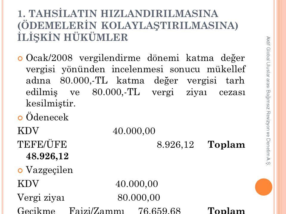 1. TAHSİLATIN HIZLANDIRILMASINA (ÖDEMELERİN KOLAYLAŞTIRILMASINA) İLİŞKİN HÜKÜMLER Ocak/2008 vergilendirme dönemi katma değer vergisi yönünden incelenm