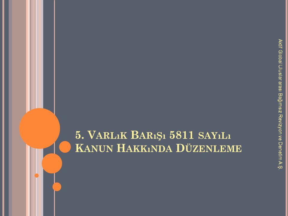 5. V ARLıK B ARıŞı 5811 SAYıLı K ANUN H AKKıNDA D ÜZENLEME Aktif Global Uluslar arası Bağımsız Revizyon ve Denetim A.Ş.