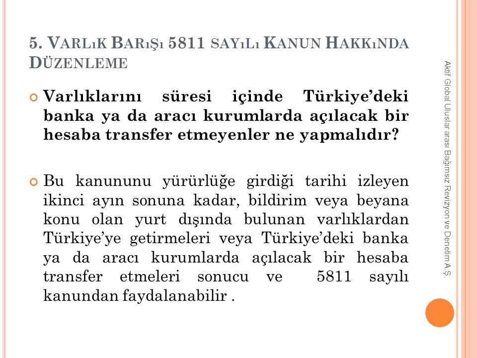 5. V ARLıK B ARıŞı 5811 SAYıLı K ANUN H AKKıNDA D ÜZENLEME Varlıklarını süresi içinde Türkiye'deki banka ya da aracı kurumlarda açılacak bir hesaba tr