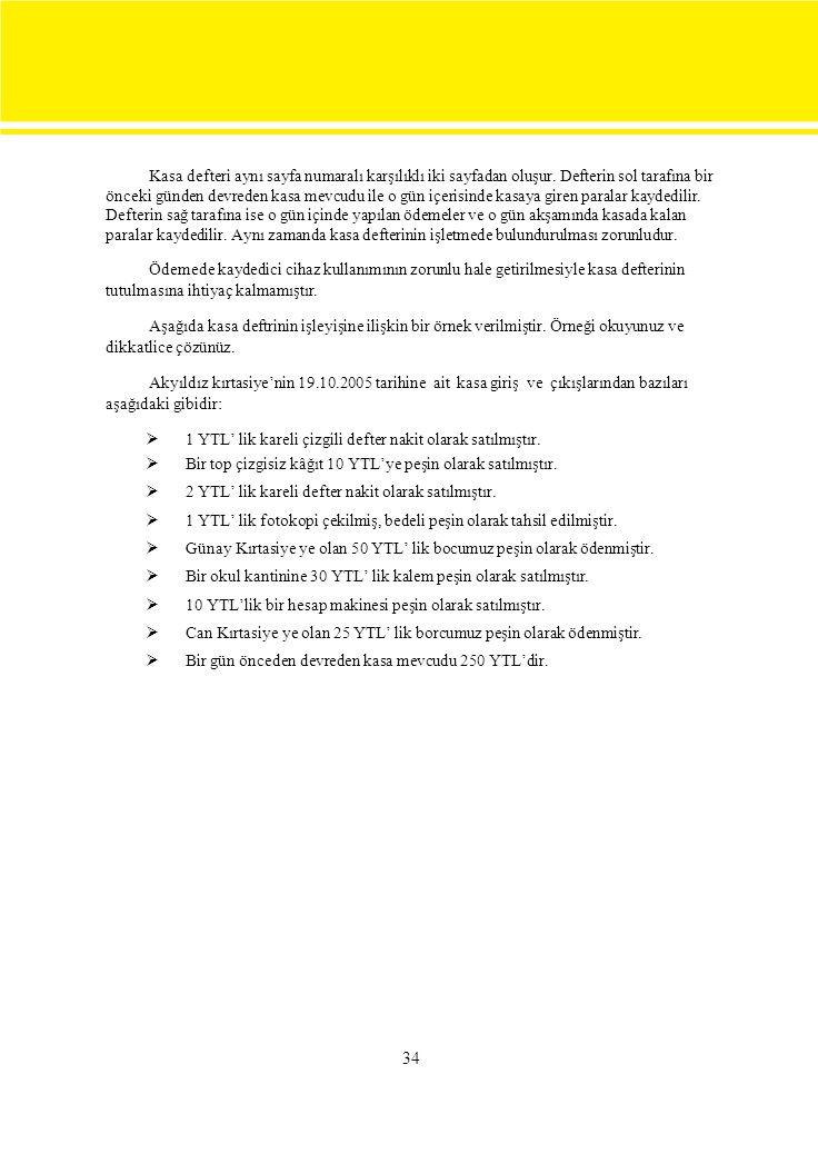 Kasa defteri aynı sayfa numaralı karşılıklı iki sayfadan oluşur.