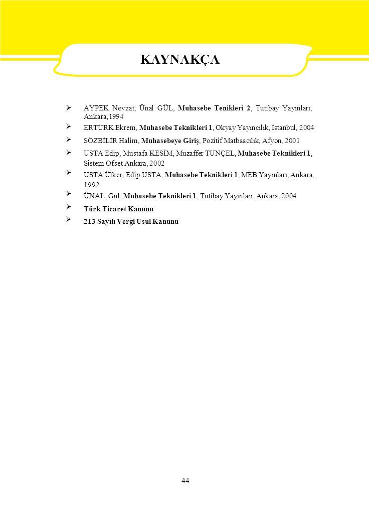  AYPEK Nevzat, Ünal GÜL, Muhasebe Tenikleri 2, Tutibay Yayınları, Ankara,1994 ERTÜRK Ekrem, Muhasebe Teknikleri 1, Okyay Yayıncılık, İstanbul, 2004 SÖZBİLİR Halim, Muhasebeye Giriş, Pozitif Matbaacılık, Afyon, 2001 USTA Edip, Mustafa KESİM, Muzaffer TUNÇEL, Muhasebe Teknikleri 1, Sistem Ofset Ankara, 2002 USTA Ülker, Edip USTA, Muhasebe Teknikleri 1, MEB Yayınları, Ankara, 1992 ÜNAL, Gül, Muhasebe Teknikleri 1, Tutibay Yayınları, Ankara, 2004 Türk Ticaret Kanunu 213 Sayılı Vergi Usul Kanunu 44 KAYNAKÇA