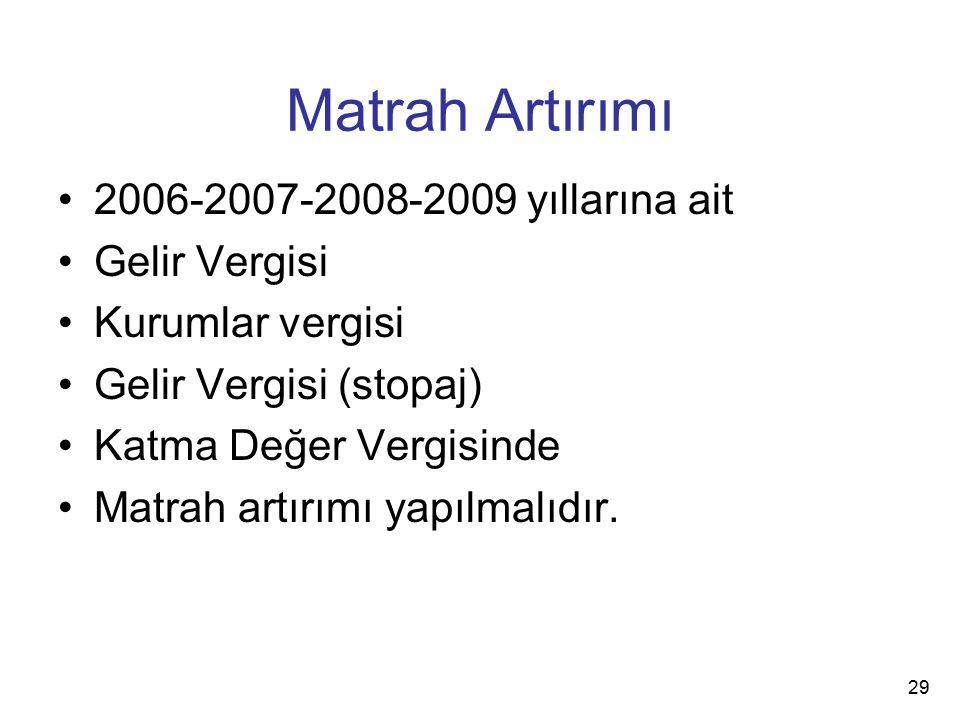 Matrah Artırımı 2006-2007-2008-2009 yıllarına ait Gelir Vergisi Kurumlar vergisi Gelir Vergisi (stopaj) Katma Değer Vergisinde Matrah artırımı yapılmalıdır.