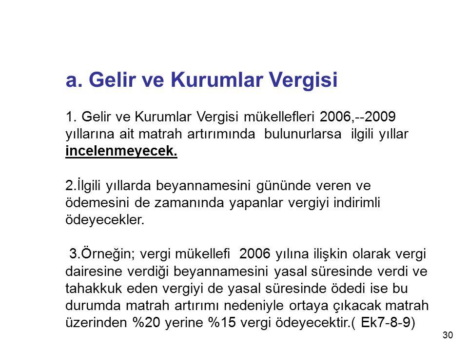 a. Gelir ve Kurumlar Vergisi 1. Gelir ve Kurumlar Vergisi mükellefleri 2006,--2009 yıllarına ait matrah artırımında bulunurlarsa ilgili yıllar incelen