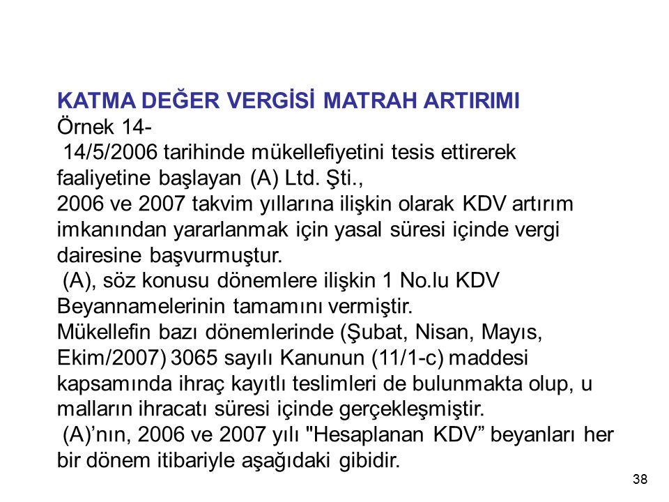 38 KATMA DEĞER VERGİSİ MATRAH ARTIRIMI Örnek 14- 14/5/2006 tarihinde mükellefiyetini tesis ettirerek faaliyetine başlayan (A) Ltd. Şti., 2006 ve 2007