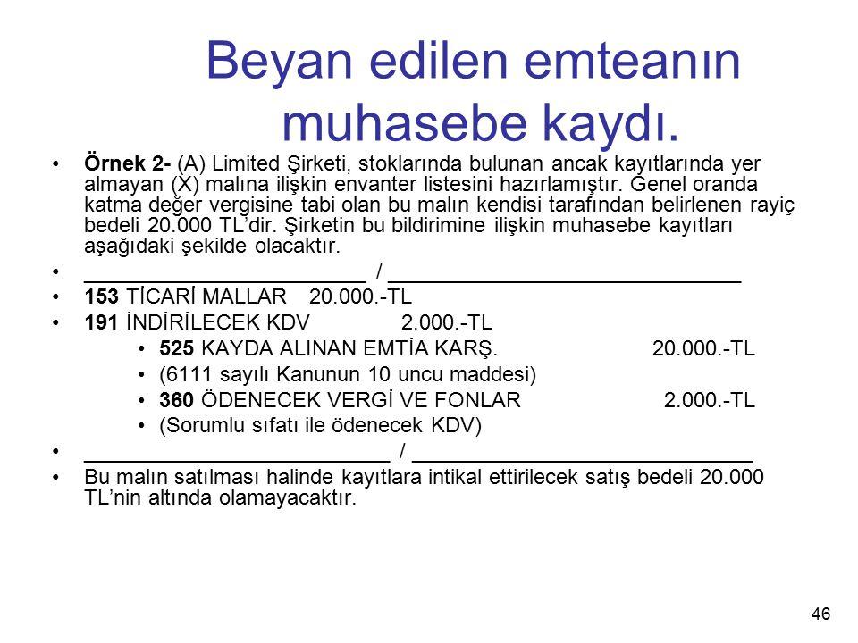 Beyan edilen emteanın muhasebe kaydı. Örnek 2- (A) Limited Şirketi, stoklarında bulunan ancak kayıtlarında yer almayan (X) malına ilişkin envanter lis