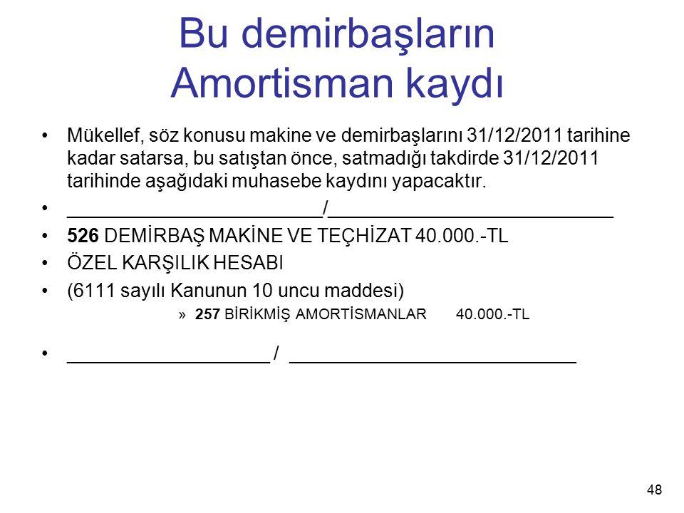 Bu demirbaşların Amortisman kaydı Mükellef, söz konusu makine ve demirbaşlarını 31/12/2011 tarihine kadar satarsa, bu satıştan önce, satmadığı takdird