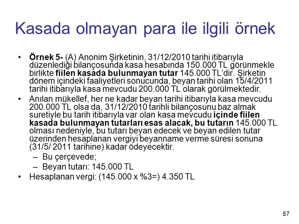 Kasada olmayan para ile ilgili örnek Örnek 5- (A) Anonim Şirketinin, 31/12/2010 tarihi itibarıyla düzenlediği bilançosunda kasa hesabında 150.000 TL görünmekle birlikte fiilen kasada bulunmayan tutar 145.000 TL'dir.