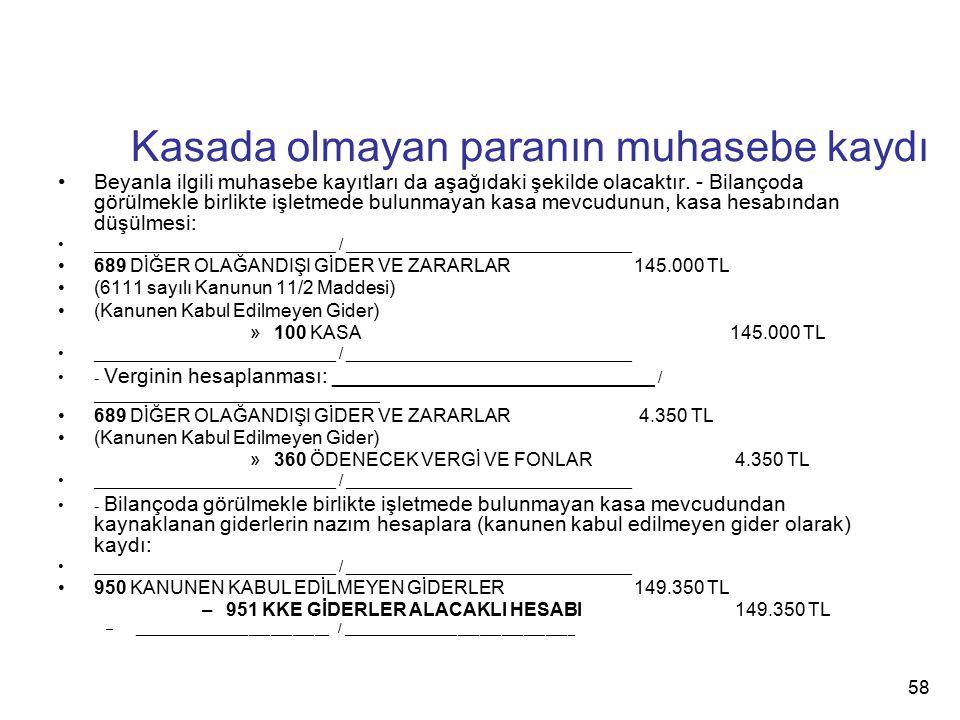 Kasada olmayan paranın muhasebe kaydı Beyanla ilgili muhasebe kayıtları da aşağıdaki şekilde olacaktır.