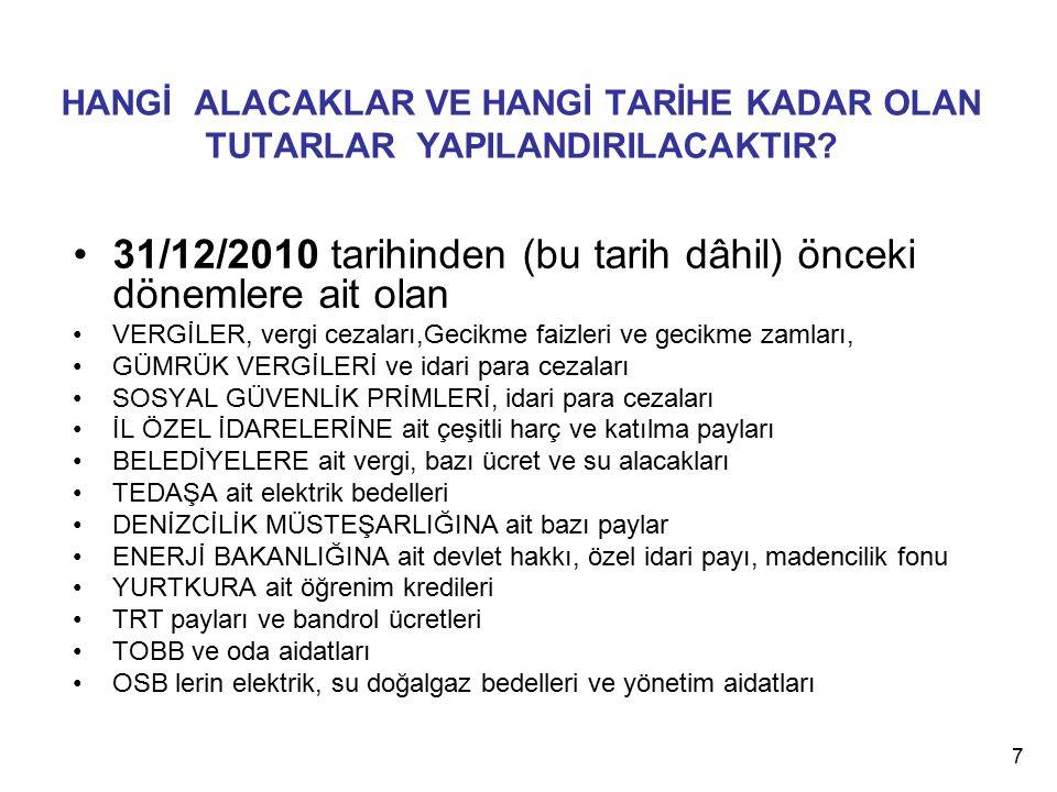 HANGİ ALACAKLAR VE HANGİ TARİHE KADAR OLAN TUTARLAR YAPILANDIRILACAKTIR? 31/12/2010 tarihinden (bu tarih dâhil) önceki dönemlere ait olan VERGİLER, ve