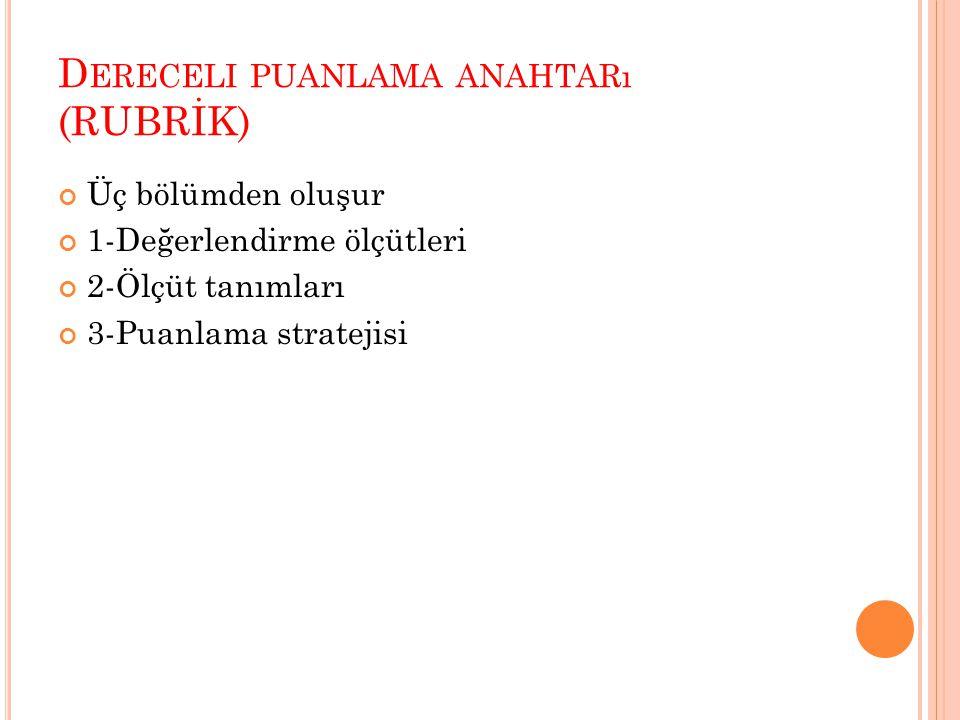 D ERECELI PUANLAMA ANAHTARı (RUBRİK) Üç bölümden oluşur 1-Değerlendirme ölçütleri 2-Ölçüt tanımları 3-Puanlama stratejisi